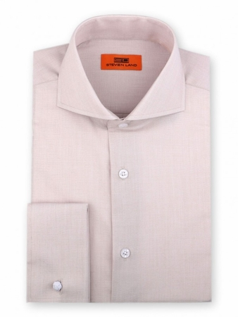 Steven Land Shirt Mens Cream Tan Taper Collar French Cuff DC60 - click to enlarge