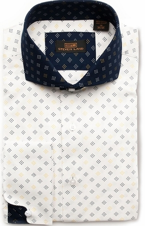 Steven Land Mens White Blue 100% Cotton Dress Shirt DA1602 - click to enlarge