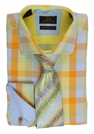 Steven Land Mens Lime Multi Cotton Shirt Modern Fit DM1523 - click to enlarge