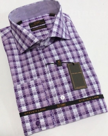 Steven Land Mens Purple Pattern 100% Cotton Modern Fit Shirt DM1571 - click to enlarge
