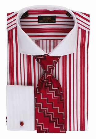 Steven Land Mens Red Woven Stripe 100% Cotton Dress Shirt DS1510 - click to enlarge