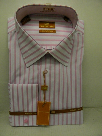 Steven Land  Mens White Pink Stripe Cotton Dress Shirt DS426  - click to enlarge