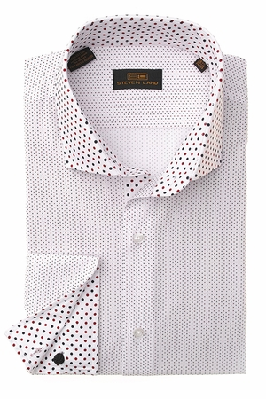 Steven Land Mens White Small Polka Dot Cotton Shirt DS1247 - click to enlarge