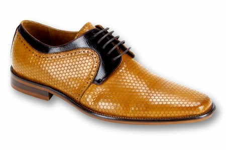Steven Land Scotch Brown Woven Leather Dress Shoes SL0014 IS - click to enlarge