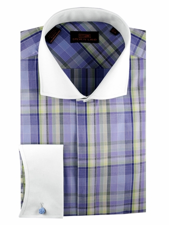 Steven Land Shirts Lavender Spread Collar Plaid French Cuff DS1208 - click to enlarge