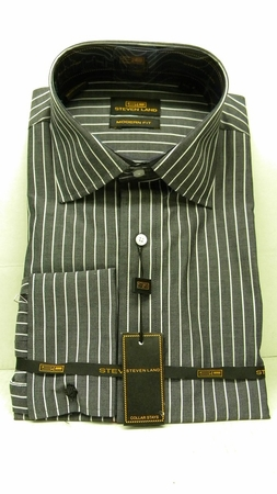 Steven Land Shirts Mens Black Stripe 100% Cotton Shirt DS1066   - click to enlarge