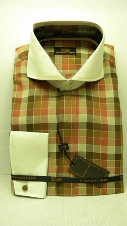 Steven Land Shirts Mens Brown Cube 100% Cotton Shirt DS1090   - click to enlarge