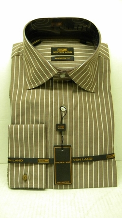 Steven Land Shirts Mens Brown Stripe 100% Cotton Shirt DS1066   - click to enlarge