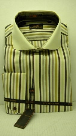 Steven Land Shirts Mens Ivory Multi Stripe 100% Cotton Shirt DS1085   - click to enlarge