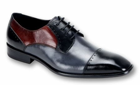 Steven Land Shoes Black Grey Red Leather Cap Toe SL0009 - click to enlarge