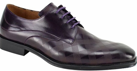 Steven Land Shoes Leather Lace Up Purple Square Patterned  SL0038 - click to enlarge