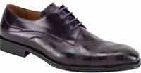 Steven Land Shoes Leather Lace Up Purple Square Patterned  SL0038