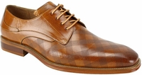 Steven Land Shoes Tan Checkered Pattern Designer Leather Lace Up SL0038