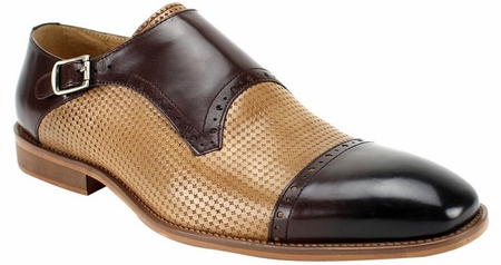 Steven Land Chocolate Brown/Latte Single Buckle Cap Toe Shoes SL0041 - click to enlarge