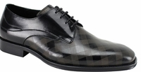 Steven Land Shoes Black Checker Pattern Leather Lace Up SL0038