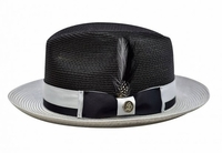Steven Land Summer Hat Mens Black Grey Straw Fedora SLSG-572
