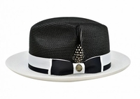 Steven Land Summer Hat Mens Black White Straw Fedora SLSG-570