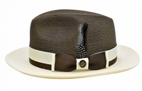 Steven Land Summer Hat Mens Brown Ivory Straw Fedora SLSG-571