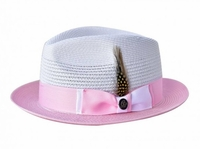 Steven Land Summer Hat Mens White Pink Straw Fedora SLMS-561