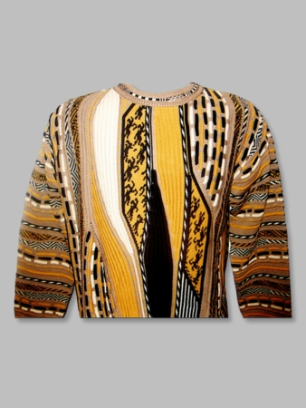 Steven Land Sweaters Mens Tan Coogi Style Cotton Knit SL129 - click to enlarge