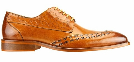 Steven Land Tan/Brown Two Tone Woven  Design Lace Up Shoes SL0019 - click to enlarge