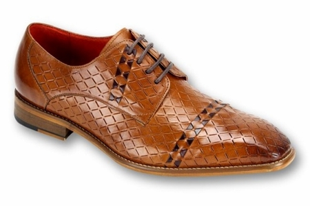 Steven Land Tan Woven Leather Dress Shoes SL0013 IS - click to enlarge