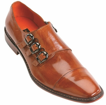 Steven Land Tan 3 Buckle Leather Dress Shoes SL308 IS - click to enlarge