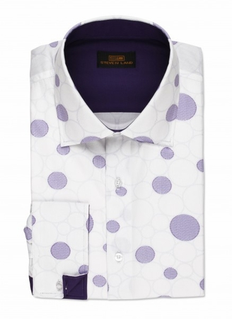 Steven Land White Purple Circle Pattern Cotton Shirt DA533 - click to enlarge