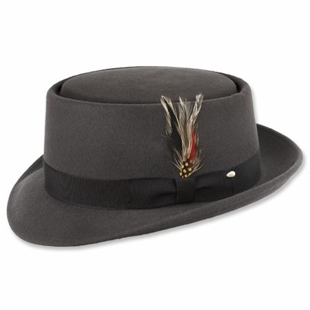 Gray Pork Pie Hat 100% Wool Heisenberg - click to enlarge