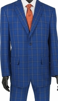 Stylish Mens Suits by Vinci Bright Blue Plaid Flat Front 2RW-5
