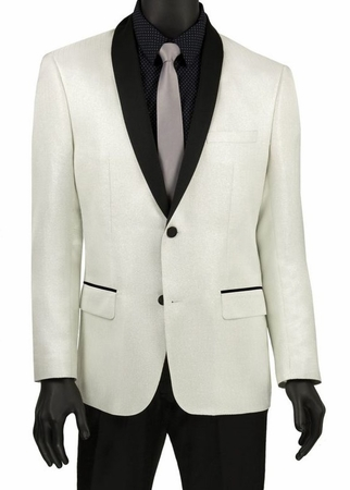 Stylish Tuxedo Jacket Men's Shiny White Tux Blazer Vinci BSF-6 - click to enlarge