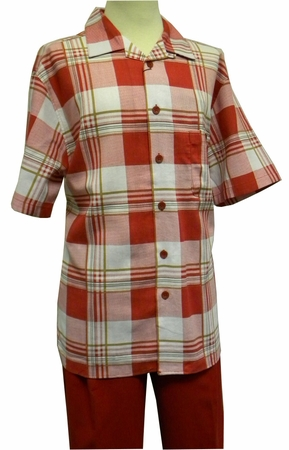 Cellangino Mens Red Plaid Linen Rayon Walking Suit LN - click to enlarge