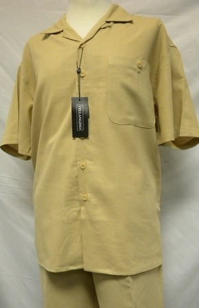 Cellangino Silk Touch Mens Linen Outfits Khaki LN11 - click to enlarge