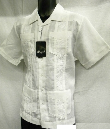 Successo Mens White Linen Guayavera Shirt Mexican Wedding Shirt S5432 Size L - click to enlarge