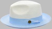 Summer Fedora Hat for Men White Light Blue Two Tone Straw SA-804