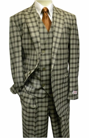 Tiglio Rosso Taupe Plaid Italian Wide Leg Style Wool Suit FT303 - click to enlarge