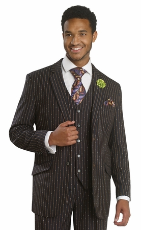 EJ Samuel Mens Black Bronze Dot Stripe 3 Piece Fashion Suit M2668 - click to enlarge