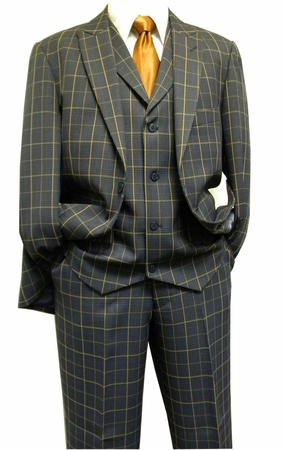 Blu Martini Mens 1920s Style Blue Camel Plaid Jett Vested Suit 3755-002 IS - click to enlarge