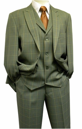 Blu Martini Mens 1920s Style Green Camel Plaid Jett Vested Suit 3755-063 OS - click to enlarge