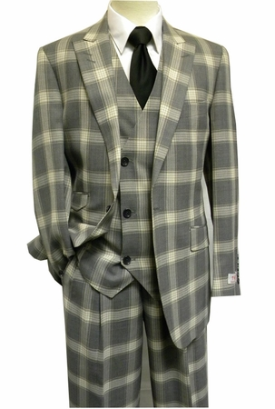 Tiglio Rosso Grey Tan Plaid Italian 150s Wool Wide Leg Style Suits RS6300 - click to enlarge