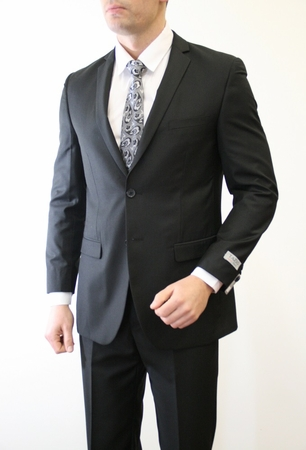 Tazio Black 2 Button Style Ultra Slim Fitted Skinny Suit 2 Piece M085S-01 - click to enlarge