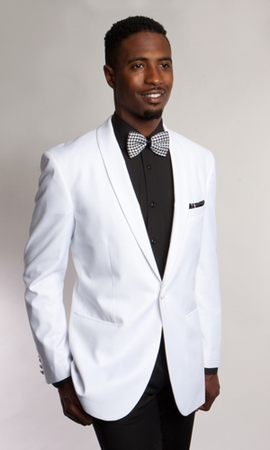 Tazio Mens All White Dinner Jacket Slim Fit M168S-03 - click to enlarge