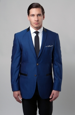 Tazio Mens Bright Blue Dinner Jacket Slim Fit MJ154S-02 - click to enlarge