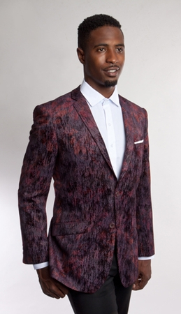 Tazio Mens Burgundy Pattern Velvet Blazer Slim Fit MJ164S-03 - click to enlarge