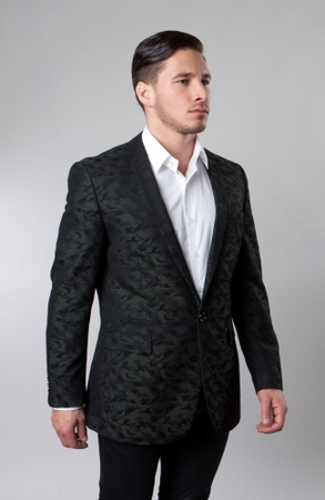 Slim Fit Dinner Jacket Mens Green Patterned Taziot MJ153S-03 - click to enlarge