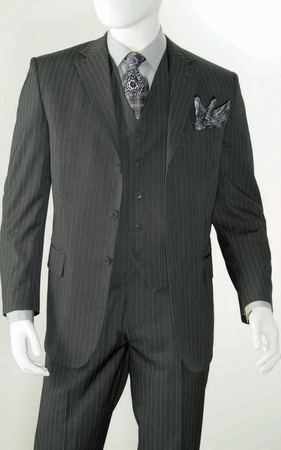 Three Button Super 150s Wool Charcoal Pinstripe 3 Piece Suits Alberto 3BVP-1 - click to enlarge