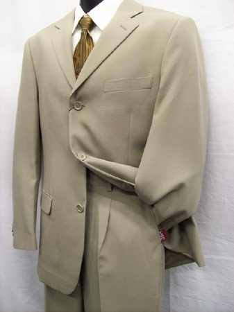 Tazio Mens Single Breasted Italian Style Mens putty/Tan Suits M069 - click to enlarge