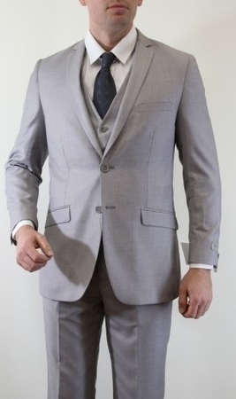 Tazio Mens Solid Light Gray 3 Piece Slim Fit Executive Suit M154S - click to enlarge
