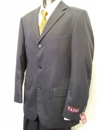 Tazio Single Breasted Italian Cut Mens Solid Navy Suits M069 IS - click to enlarge