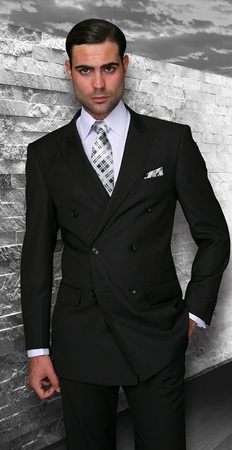 Statement Solid Black Italian Wool Double Breasted Suits TZD-100 - click to enlarge